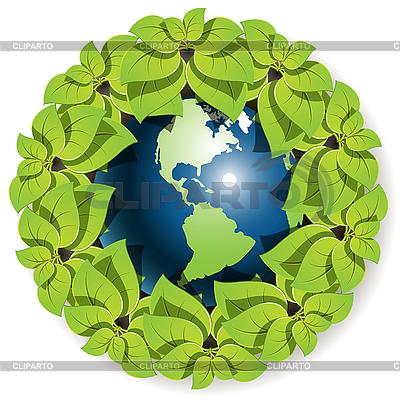 地球在叶   向量插图  ID 3099484
