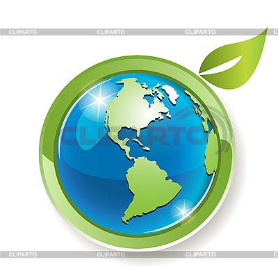 Globe with leaves | 向量插图 |ID 3099502