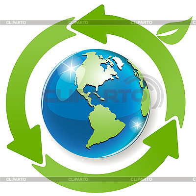 Globe and green arrows | Stock Vector Graphics |ID 3099516