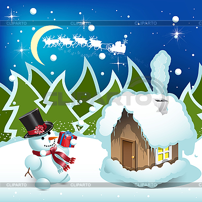 Snowman with gift   Stock Vector Graphics  ID 3103621