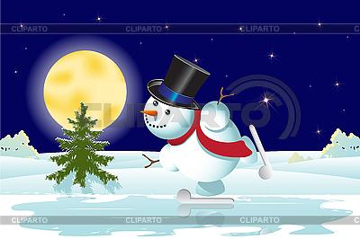 Snowman and Christmas tree   Stock Vector Graphics  ID 3103637