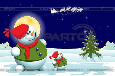 Snowman and Christmas tree | Stock Vector Graphics |ID 3103645