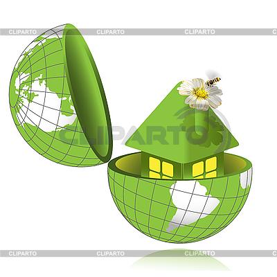 Zielony dom w świecie | Klipart wektorowy |ID 3131087