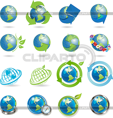 Icons mit Weltkugeln | Stock Vektorgrafik |ID 3131107
