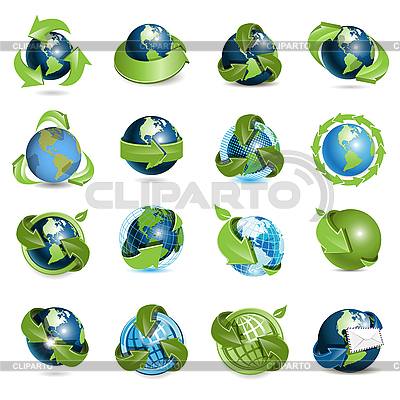 Icons with globe and arrows | Stock Vector Graphics |ID 3131109