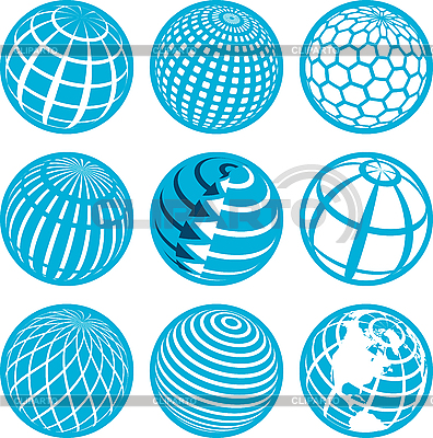 Icons with globe   Stock Vector Graphics  ID 3131127