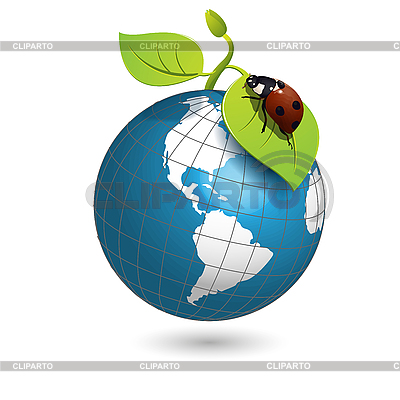 Ladybird and globe | Stock Vector Graphics |ID 3131169