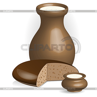 Milch und Brot | Stock Vektorgrafik |ID 3135244