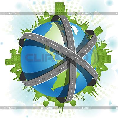 Roads over globe | Stock Vector Graphics |ID 3140338