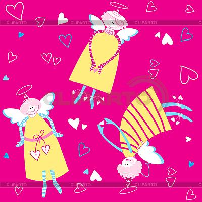Bezszwowe wzór i serca aniołów | Klipart wektorowy |ID 3099227