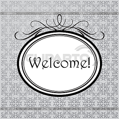 Welcome in oval frame | Stock Vector Graphics |ID 3099241