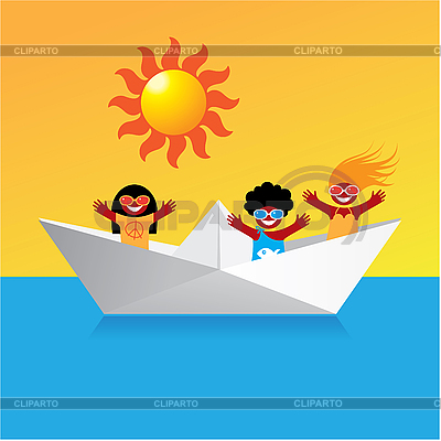 Boat with happy kids | Stock Vector Graphics |ID 3102334
