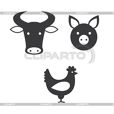 Bull, pig and chicken | Stock Vector Graphics |ID 3103373