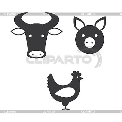 牛,猪和鸡 | 向量插图 |ID 3103373