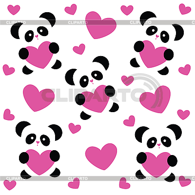 Love pattern with pandas | Stock Vector Graphics |ID 3103457