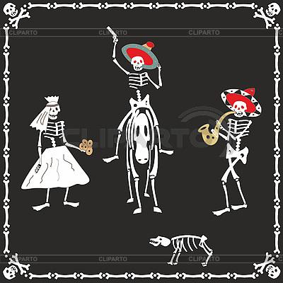 Amusing skeletons on wedding | Stock Vector Graphics |ID 3100044