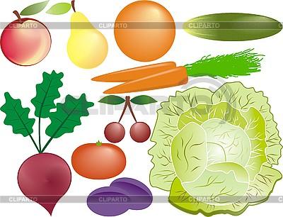 Frutas y verduras | Ilustración vectorial de stock |ID 3102278