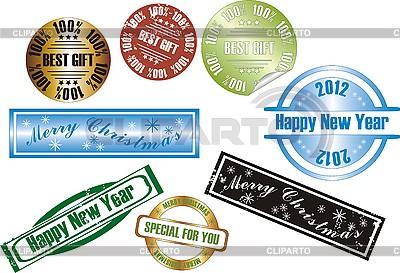 Nowe znaczki roku | Klipart wektorowy |ID 3102378