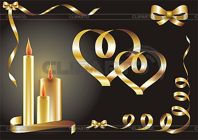 Greetings card with hearts and candles | Stock Vector Graphics |ID 3102419