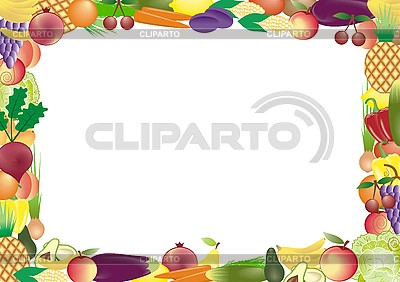 Frame of fruits and vegetables   Stock Vector Graphics  ID 3103824