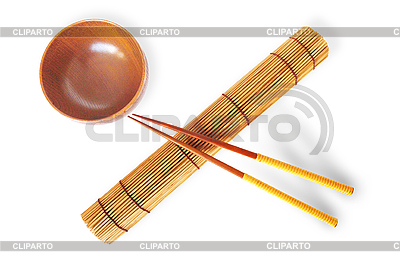 Rolled bamboo mat with chopsticks   High resolution stock photo  ID 3115493
