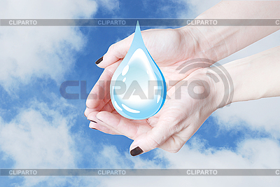 Hands holding water drop, environmental protection | High resolution stock photo |ID 3123214