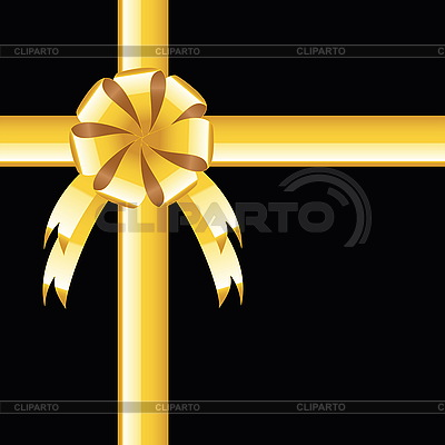 Black background with gold bow, greeting card | Stock Vector Graphics |ID 3204302