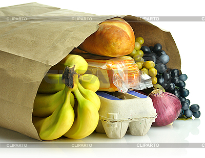 Papiertüte mit Lebensmitteln | Foto mit hoher Auflösung |ID 3105108