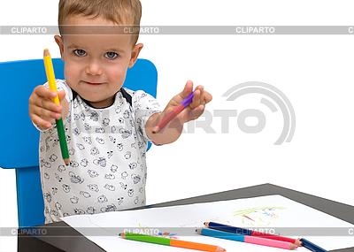Little boy and pencils | Foto stockowe wysokiej rozdzielczości |ID 3111142