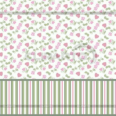 Muster mit Herzen und Rosen | Stock Vektorgrafik |ID 3128762