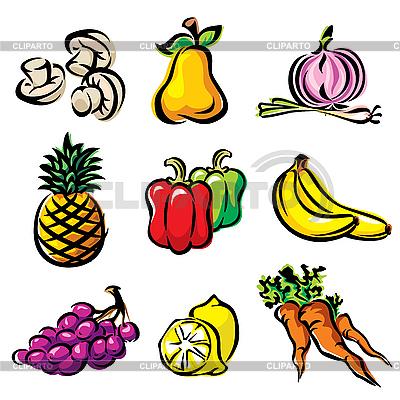 Owoce i warzywa | Klipart wektorowy |ID 3107672