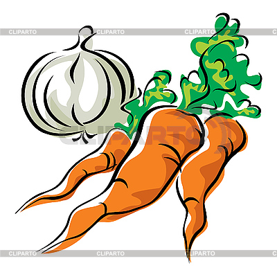 Carrots and garlic | Stock Vector Graphics |ID 3108482