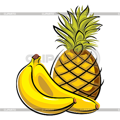 Pineapple and banana | Stock Vector Graphics |ID 3108486