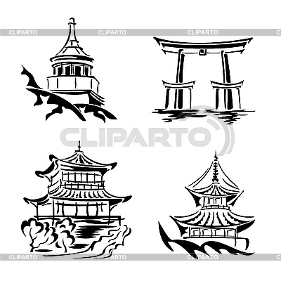 Asian temples | Stock Vector Graphics |ID 3108887