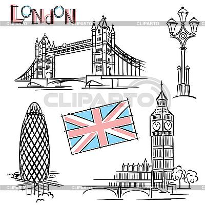 Достопримечательности Лондона | Векторный клипарт |ID 3108904