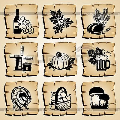 Jesień ikony | Klipart wektorowy |ID 3108920