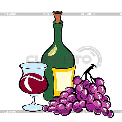 葡萄酒和葡萄 | 向量插图 |ID 3109097