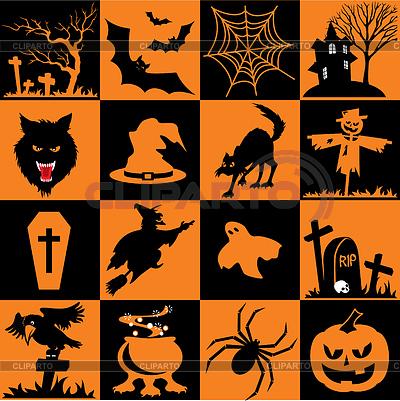 Zestaw symboli Halloween | Klipart wektorowy |ID 3348443