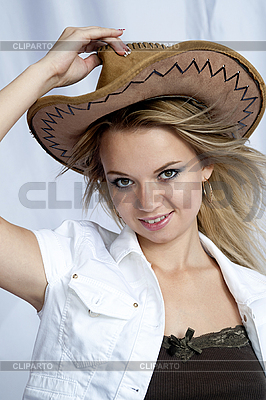 Beautiful smiling girl with cowboy hat | High resolution stock photo |ID 3116228