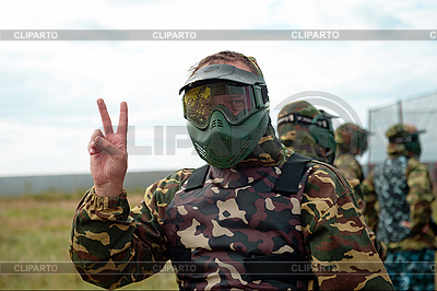Paintball player on the field before the game | High resolution stock photo |ID 3116599