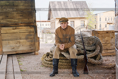 Retro-Stil Bild mit Soldat sitzt auf dem Seil | Foto mit hoher Auflösung |ID 3158908
