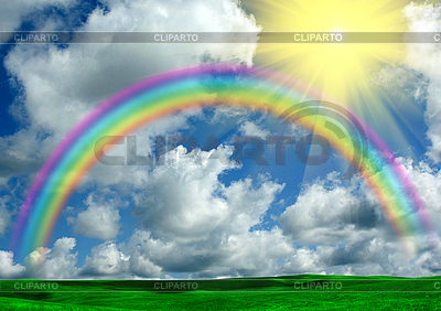 Rainbow, sun, clouds and green grass | High resolution stock photo |ID 3112604