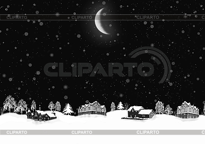 Night winter landscape | High resolution stock illustration |ID 3112631