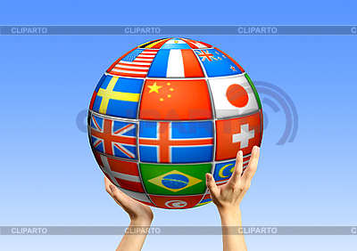 Руки держат шар из флагов стран | Фото большого размера |ID 3112655