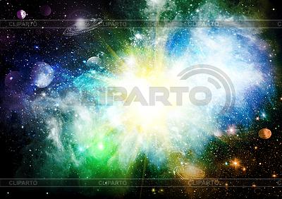 Abstrakter Weltraum-Hintergrund mit Planeten | Illustration mit hoher Auflösung |ID 3112668