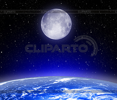 Earth, Moon and stars | High resolution stock illustration |ID 3112706