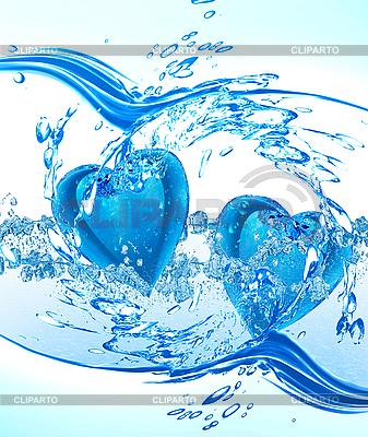 Dwa serca w wodzie   Stockowa ilustracja wysokiej rozdzielczości  ID 3120192