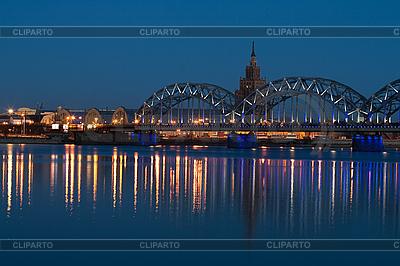 Railway bridge at night | High resolution stock photo |ID 3114238
