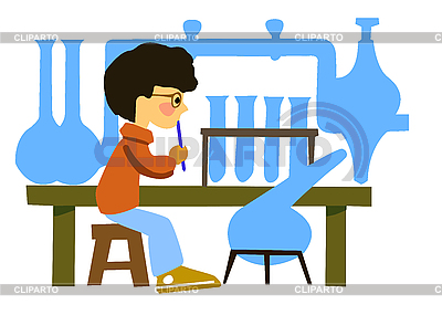 Boy in chemical laboratory | Stock Vector Graphics |ID 3113219