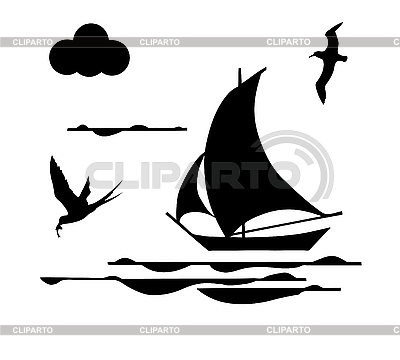 Silhouette of sailing ship | Stock Vector Graphics |ID 3201463